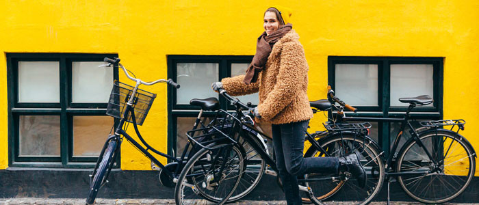 woman with bikes