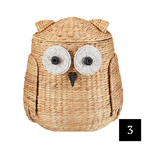 StyleWell Owl Hyacinth Decorative Basket