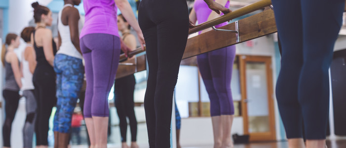 girls doing barre work out