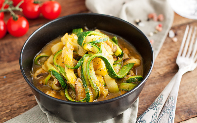 Spicy Coconut Zucchini Noodles with Chicken