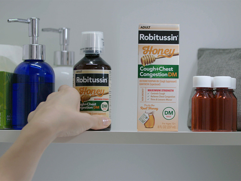 Robitussin in cabinet