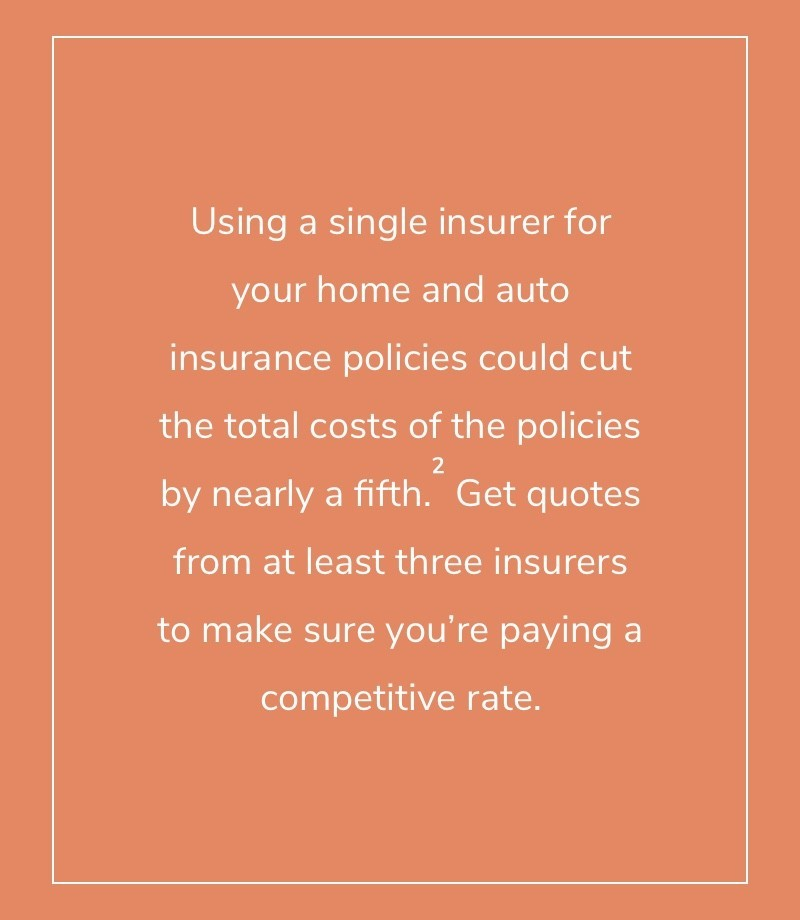 Using a single insurer for your home and auto insurance policies could cut the total costs of the policies by nearly a fifth.  Get quotes from at least three insurers to make sure you're paying a competitive rate.
