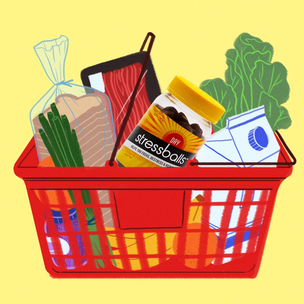 illustration of grocery cart with some essentials