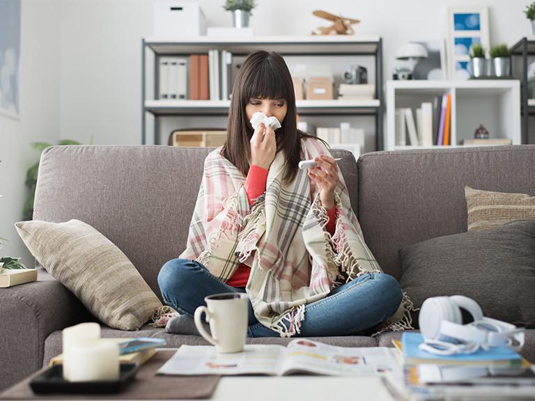 woman home sick