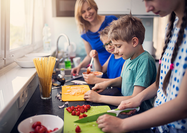 family making food fun together