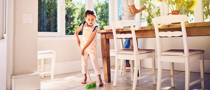 child doing chores