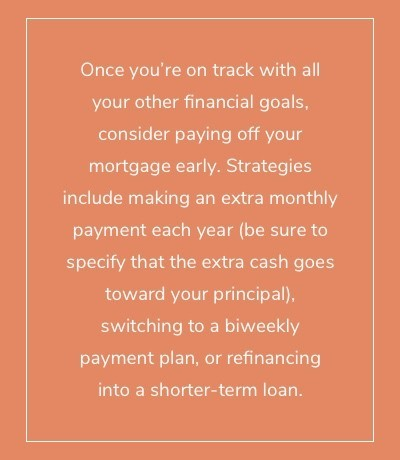 Once you're on track with all your other financial goals, consider paying off your mortgage early. Strategies include making an extra monthly payment each year (be sure to specify that the extra cash goes toward your principal), switching to a biweekly payment plan, or refinancing into a shorter-term loan.