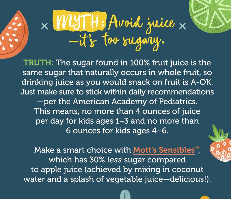 Myth: Avoid juice—it's too sugary.
