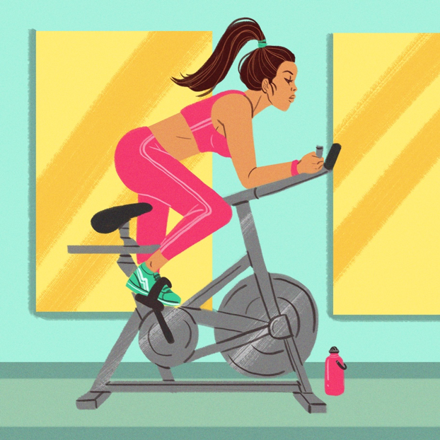 illustration of woman working out at gym